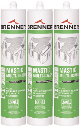 Mastic silicone universel neutre multi-usages 3x310 ml - BRENNER - Brico Dépôt