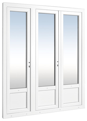 Porte fenêtre en PVC blanche L. 180 x H. 215 cm - Brico Dépôt