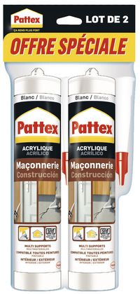 LOT DE 2 MASTICS ACRYLIQUE PATTEX 280 ML (2) Le lot de 560 ml - PATTEX - Brico Dépôt