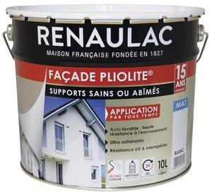 Peinture De Façade Pliolite Blanc Mat Monocouche 10 L   RENAULAC   Brico  Dépôt