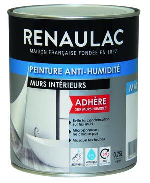 peinture application rouleau ou pinceau 075 l renaulac brico dpt - Peinture Anti Humidite Pour Salle De Bain