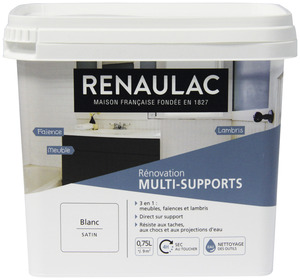 RÉNOVATION MULTI-SUPPORTS 3 EN 1 SATIN BLANC 0,75 L* 0,75 L - Blanc satin  - RENAULAC - Brico Dépôt