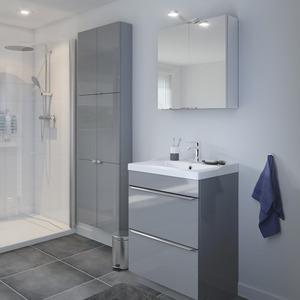 meuble sous vasque poser gris long 60 x haut 82 cm. Black Bedroom Furniture Sets. Home Design Ideas