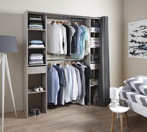 best top cheap dressing imitation chne gris avec rideau h x l de x p cm le dressing with. Black Bedroom Furniture Sets. Home Design Ideas
